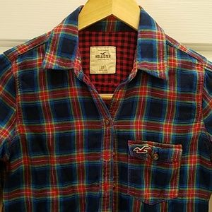 Hollister Blue & Red Plaid Long Sleeve Shirt
